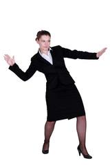 Businesswoman pretending to surf