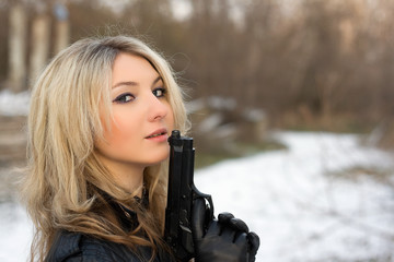 Hot girl against the snow