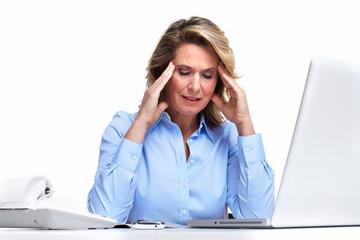 Business woman having a headache.