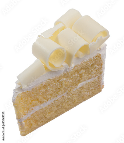 piece of vanilla cake topping with white chocolate for coffee or