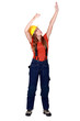 A female construction worker gesturing.