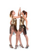 sexy women posing in gold go-go costume isolated