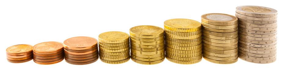 pièces de monnaie en ordre croissant
