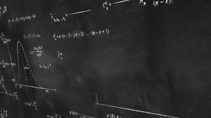 math physics formulas on chalkboard panning loop
