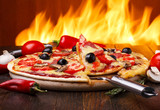 Fototapety Hot pizza with oven fire on background