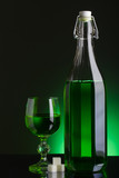 Absinthe bottle and glass with lump sugar poster