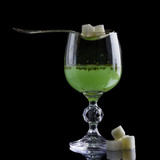 Absinthe glass with lump sugar poster