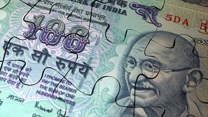 India Rupee bank note puzzle concept animation.