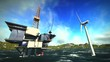 Oil rig platform and wind turbines off shore