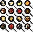 Vector of Breakfast Ingredients: Fried Food In Frying Pans