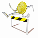 dollar coin robot jumping above hurdle front view illustration poster