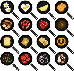 Vector of Breakfast Ingredients: Fried Food In Frying Pans