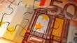 Euro bank note puzzle concept animation.