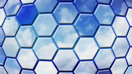 clouds reflected in cells loopable background
