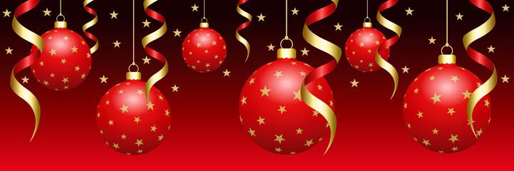 Bannière de boules de Noël rouges