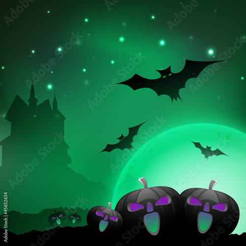 Halloween night background with scary pumpkins, flying bats and