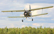 Flying biplane.