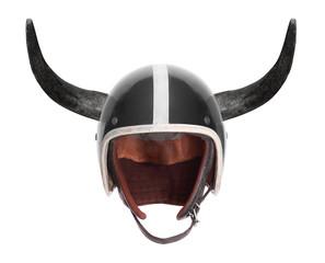 Retro motorcycle helmet with bull long horns.