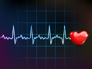 Cardiogram with red heart shape, medical background. EPS 10.