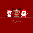 Sitting Icebear, Rudolph & Santa Green Background