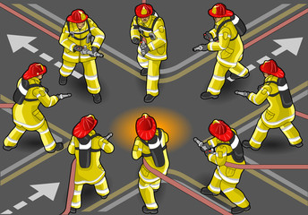isometric firefighter extinguisher in eight positions