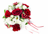 colorful flower wedding bouquet for bride isolated on white back