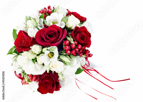 Keuken foto achterwand Iris colorful flower wedding bouquet for bride isolated on white back