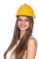 Young Woman with a Construction Helmet