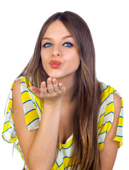 Beautiful Young Girl Blowing a Kiss
