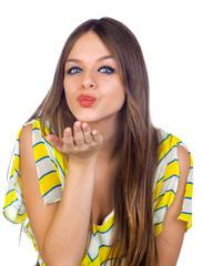 Beautiful Young Girl Blowing a Kiss