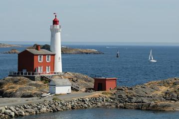 beautiful lighthouse on the rocks