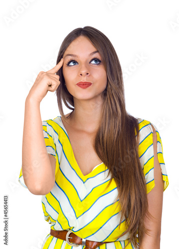 Sexy Young Woman Thinking with Finger on Head