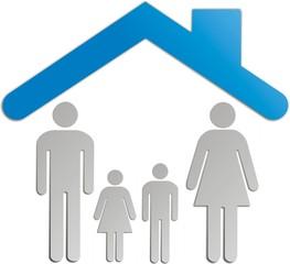 Illustration d'une maison avec la famille