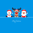 Sitting Snowman, Rudolph & Santa Iceblue Background