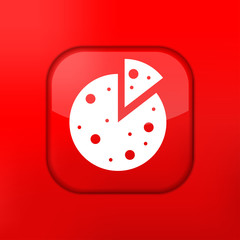 Vector red pizza icon. Eps10. Easy to edit