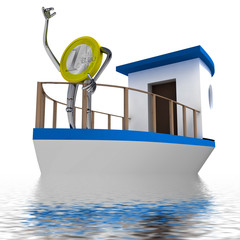 euro coin sailing on the sea illustration