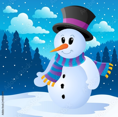 Winter snowman theme image 2