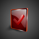 Glossy red 3D web 2.0 check mark validation symbol icon set. EPS