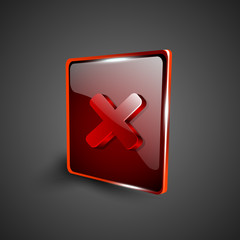 Glossy red 3D web 2.0 cross mark validation symbol icon set. EPS