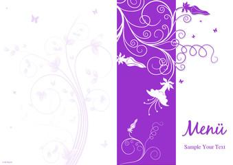 Menükarte - Lila Blumen mit Schmetterlinegn