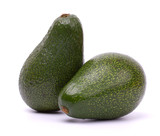 Two avocado on white background