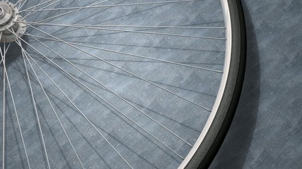 Close-up bicycle wheel spinning.