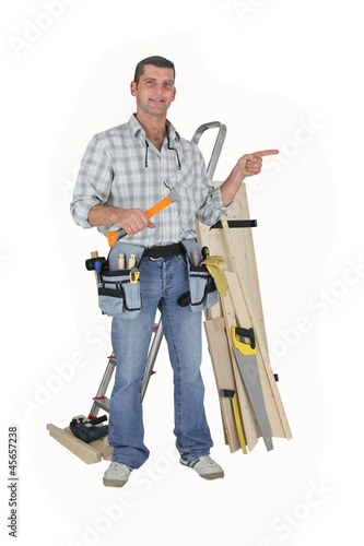 Carpenter on white background