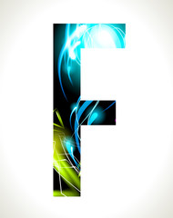 Vector design light effect alphabet. Letter  F.