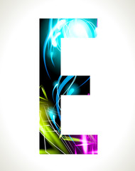 Vector design light effect alphabet. Letter  E.