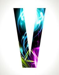 Vector design light effect alphabet. Letter  V.