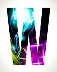 Vector design light effect alphabet. Letter  W.