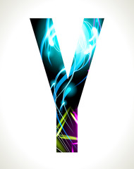 Vector design light effect alphabet. Letter  Y.