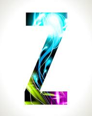 Vector design light effect alphabet. Letter  Z.