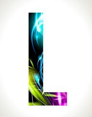 Vector design light effect alphabet. Letter  L.